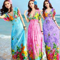 Bohemia 2015 summer plus size clothing V-neck batwing sleeve beach slim one-piece dress full dress