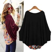 Women's Spring Plus Size Loose Slim Bat shirt 2015 New Fashion  Long Sleeve European style T-Shirt Tops camisetas y tops