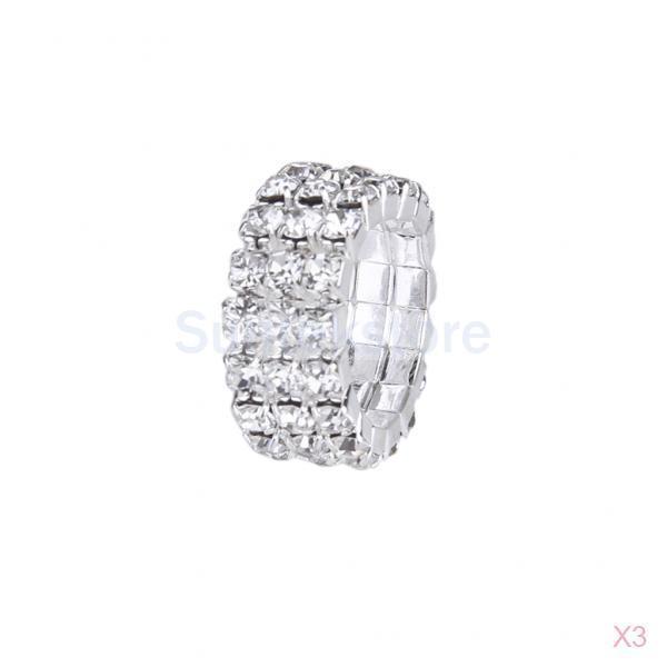 New Arrivals 2015 3 Stk Elastic Silver Tone 3 Row Crystal Rhinestone Toe Ring Bridal Jewelry