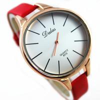 2015 lastest DALAS brand lady vogue big face precise quartz movement wrist leather watch for women