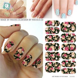 K5708B Water Transfer Nails Art Sticker Pink Red Rose Flowers Design Nail Sticker Manicu