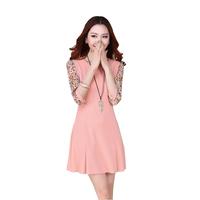 Women Dress 2015 New Arrival Patchwork Floral Slim Dresses Three Quarter Sleeve O-neck A-line Dresses Hot Sale Plus Size S-XXXL
