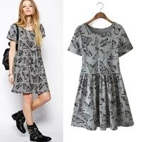 2015 spring and summer fashion butterfly print short-sleeve dress slim doll basic short dress 15020908