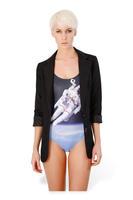 New Fashion Boutique space spaceman 10805 Women Beauty swimsuit Beach sexy Bikini perspective blouse dress female swimmer