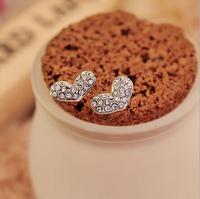 Fashion jewelry Ear Studs Full Crystal love all-match Stud earrings heart-shaped Earrings Free shipping