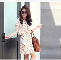 Women  summer new bat sleeve floral print chiffon dress color Princess  short party China cheap clothe vestido femininos
