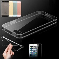 100 PCS/LOT,Full Transparent Case For iPhone 4 4S,Almost Invisible Soft Cover,0.6mmT Slim,Free Shipping