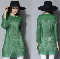 XL-5XL Vestidos Long sleeve Embroidery Lace Dresses 2015 Spring 3/4 Sleeve Black Green Dress Plus Size Women Clothing XXXL 4XL