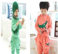 Children spring sport clothing 2015 boys cartoon embroidery crocodile suits kids long sleeve T shirts + pants 2pcs suit YF-112