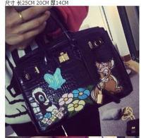 fashion black Alligator Pattern handbag design exquisite embroidery cartoon  messenger bag vintage women's handbag
