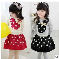 2015 baby girl  spring cartoon t -shirts and dot skirts 2 pcs suits children cute set girls cotton fashion sets YF-113