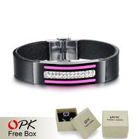 OPK Casual Design Man Wrap Bracelets High Quality Genuine Leather Pink White Cubic Zirconia Sporty Men Jewelry GX923