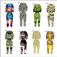 Hot Men's sets 3d sweatshirts/pants 100pints/Animal/Skull/Face emoji 3D sweatshirt set men 21models size S-XL free ship
