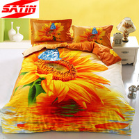 3d Golden sunflowers and butterfly bedding set 4pcs king queen size 100%cotton bed sheet duvet quilt cover doona bedcover linens