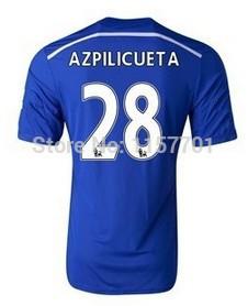 FA Premier League 14-15 Chelsea Team short sleeve Men's Blue home soccer Jersey,#28 AZPILICUETA,best thai quality,Free shipping(China (Mainland))