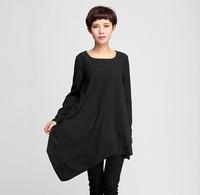 Women Dress 2015 New Arrival Spring Long Sleeve O-neck Casual Dress Asymmetrical Hem Solid Dresses Fashion Female Clothing