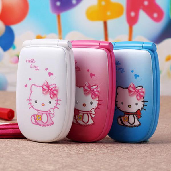 Cute Hello Kitty Flip Cell Phone W88 Luxury Music Flash Light Mini ...