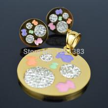 WS123 Pendant Honey Heart Crystal Rhinestone Enamel Color Bear with earring Charm stainless steel Girl Fahion Romantic TOP Jewel