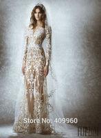 2015 Zuhair Murad Sexy Sweetheart Long Sleeves Mermaid Floor Length Lace Wedding Dresses Vestido De Noiva Sereia