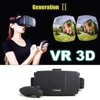 Gneneration II 2015 Plastic Google Cardboard  VR Virtual Reality oculus rift 3D Glasses+ original bluetooth control+8GB card