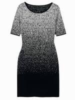 Women 100% Merino Wool Gradient Dip Dye Short Sleeves Knee-length Knitted Sweater Dress Standard EU Size XS-XL 2015 Spring New