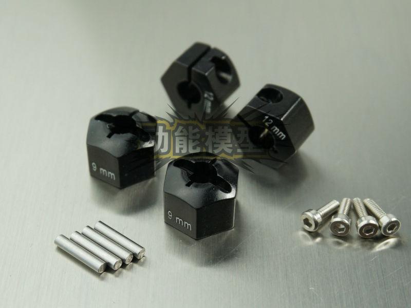 Aluminum Alloy 12mmx9mm Wheel Hub Hex Drive Adaptor for SCX10 90027 90028 90034 90035 90036 90044 WRAITH 90018 90020 CC01 Black(China (Mainland))