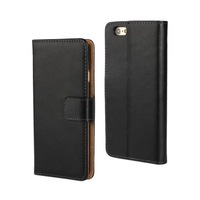 New Genuine Leather Flip Back Case Stand Cover For iphone 6 Plus Wallet Skin Pouch Cute Free Shipping Black