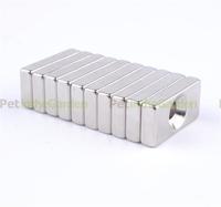 10 x Super Strong Block Magnet Rare Earth Neodymium 4mm Hole 20x10x4mm