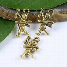 50pcs dark gold-tone cupid pendant charms h1840