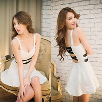 Sexy Women Low-cut Bandage Strap Party Ball Prom Evening Cocktail Mini Dress