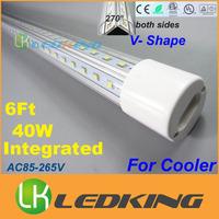 2015 New Integrated T8 LED Tube V Shape both sides Light tube 40W 6 feet 1.8m for cooler LED fluorescent lights AC85-265V