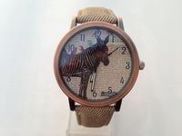 Hot sellling Casual Women Men Quartz Watches Zebra Printing Bronze Case PU Band New Unisex sports Watch Promotion