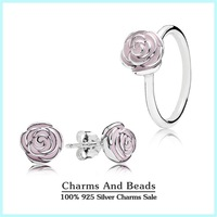 2015 New Authentic 925 Sterling Silver Enamel Jewelry Sets-Pink Rose Stud Earrings /Ring For Women DIY Accessories TZ003