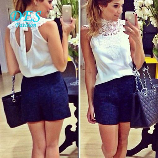 2015 lady blusas camisa branca de renda de gola alta backless tropical