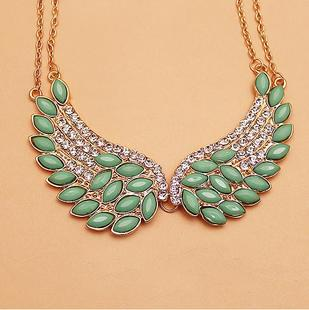C118 wholesale fashion jewelry Cupid Angel Wings set rhinestone necklace with Rhinestone necklace