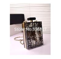 New arrive 2015 fashion European brand chain evening bag transparent lace lace clutch women lace handbags paris cc 1011