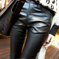 New 2015 Women' PU Leather Black Casual Leggins Fashion Mid-Waist Skinny Fitness Legging Women Leggings S-M-L-XL-XXL Hot Sale