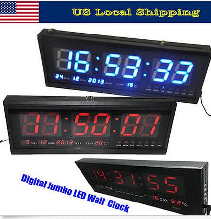 48cm Blue Digital Large Big LED Time Calendar Desk Wall Clock Temperature(China (Mainland))