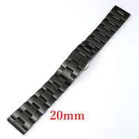 Watch Band 20mm Black Stainless Steel Mesh Polished Butterfly Clasp GD013920