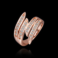 fashion design 18K Rose Gold Plated CZ Diamond angle's wings finger rings for women with gift box