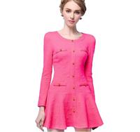 Women Dress 2015 Spring New Arrival Long Sleeve O-neck Ruffles Dress Slim Elegant Casual Dresses High Quality Plus Size S-XL