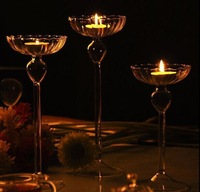 Wholesale Candle Holder Clear Glass Tea Candle Stand Bowls for home, restaurant decorations