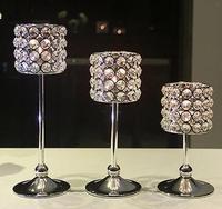 Wholesale Crystal Candle Stand Cylinder Pedestal Candle Holder