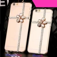 "Luxury Rhinestone Diamond Flower Crown Cross Tower Pearls Girl Crystal Clear Hard Case for Apple iPhone 6 Case 4.7''/Plus 5.5"""