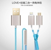 QW Blue 2 in1 Micro USB Zip Data Sync Charge Cable for iPhone 5 5s 6 6 Plus And Andriod