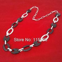 fashion vintage women necklace 2015 hot new necklaces for dresses simple black beads metal long chain necklaces wholesale