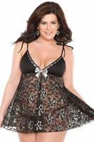 Fashion Women's Charm Plus Size Black Babydoll with G-string Sexy See Through Lingerie Chemises Sleepwear Nightwear M XL XXL