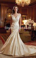 Beautifully Mermaid Trumpet Prom Dresses V-Neck Cap Sleeve Lace Applique Chapel Train Satin Bridal Dresses Custom