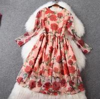 2015 NEW IN Spring High Street Designer Dress Women's Elegant Long Sleeve Charming Red Rose Floral Print Knee Length Dress