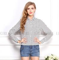 2015 spring summer polka dot long women blouse chiffon pocket shirt